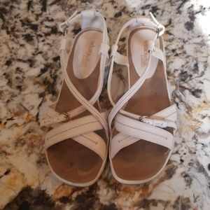 Low, neutral wedge sandals